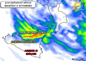La distribuzione delle piogge prevista per martedì 2 dal modello MTG LAM: colpito principalmente il nord Sicilia.