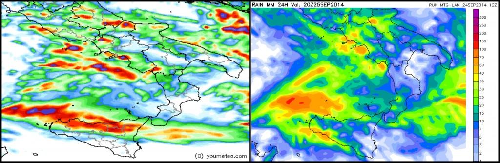 Output grafici dei LAM a confronto: sx = HR RAP 4 km di youmeteo.com; dx = MTG-LAM HiRes