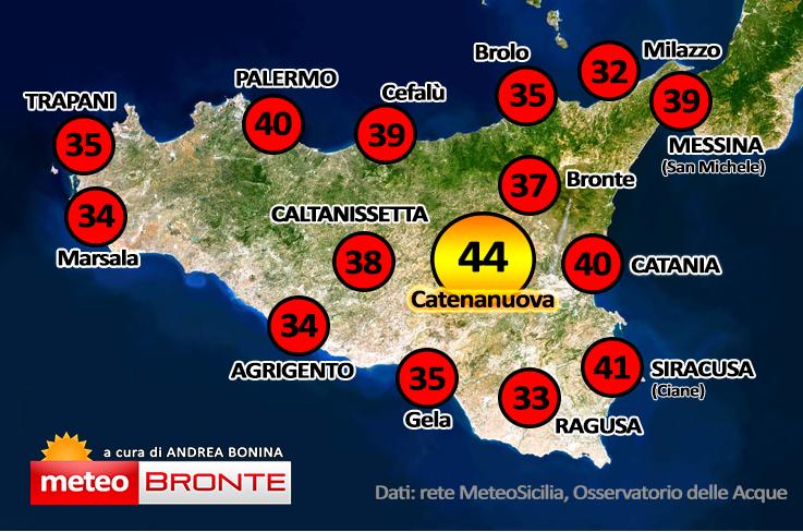 Temperature Sicilia, caldo estremo: Catania, Palermo, Bronte
