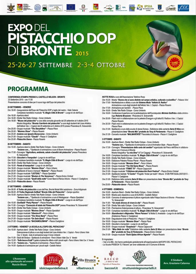 Programma Expo del Pistacchio di Bronte 2015