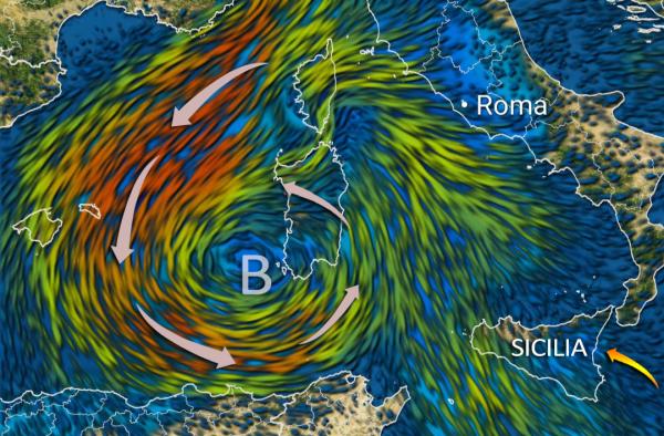 vortice ciclonico Sardegna - Allerta meteo