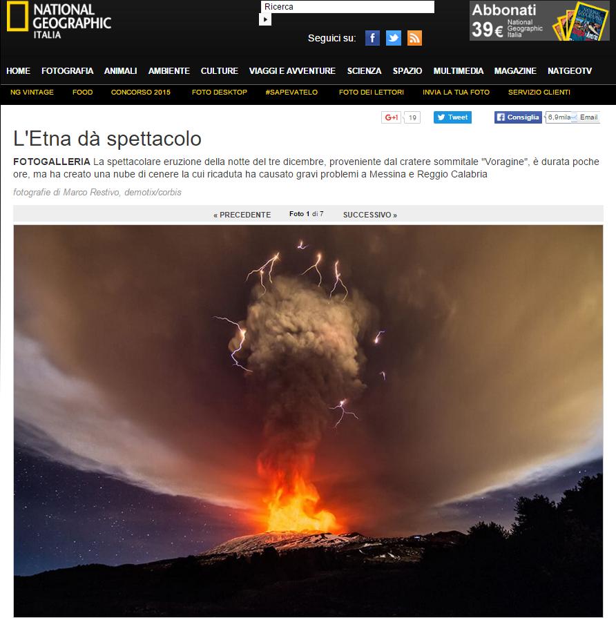L'Etna, con le foto di Marco Restivo, sul sito del National Geographic Channel