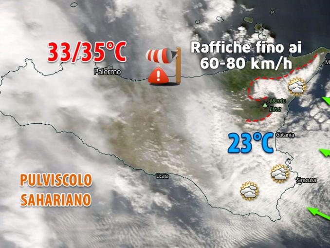 Immagine satellitare riferita al pomeriggio odierno: si evidenzia la fitta copertura nuvolosa sulla Sicilia orientale, tra lo Ionio, i Peloritani, l'Etna e gli Iblei. Nuvolosità che non riesce ad oltrepassare i Nebrodi: sul versante tirrenico messinese ampio soleggiamento in un contesto caldo e ventoso